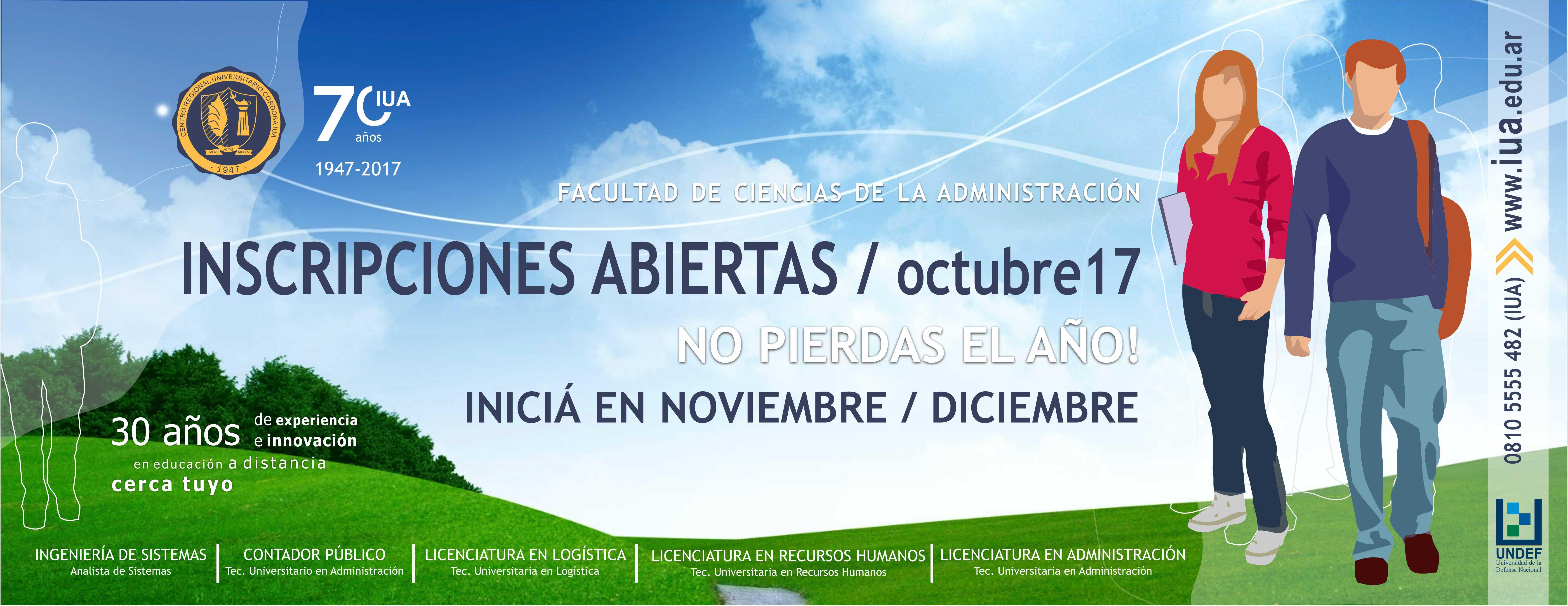Inscripciones Octubre 2017 - Facultad de Ciencias de la Administración