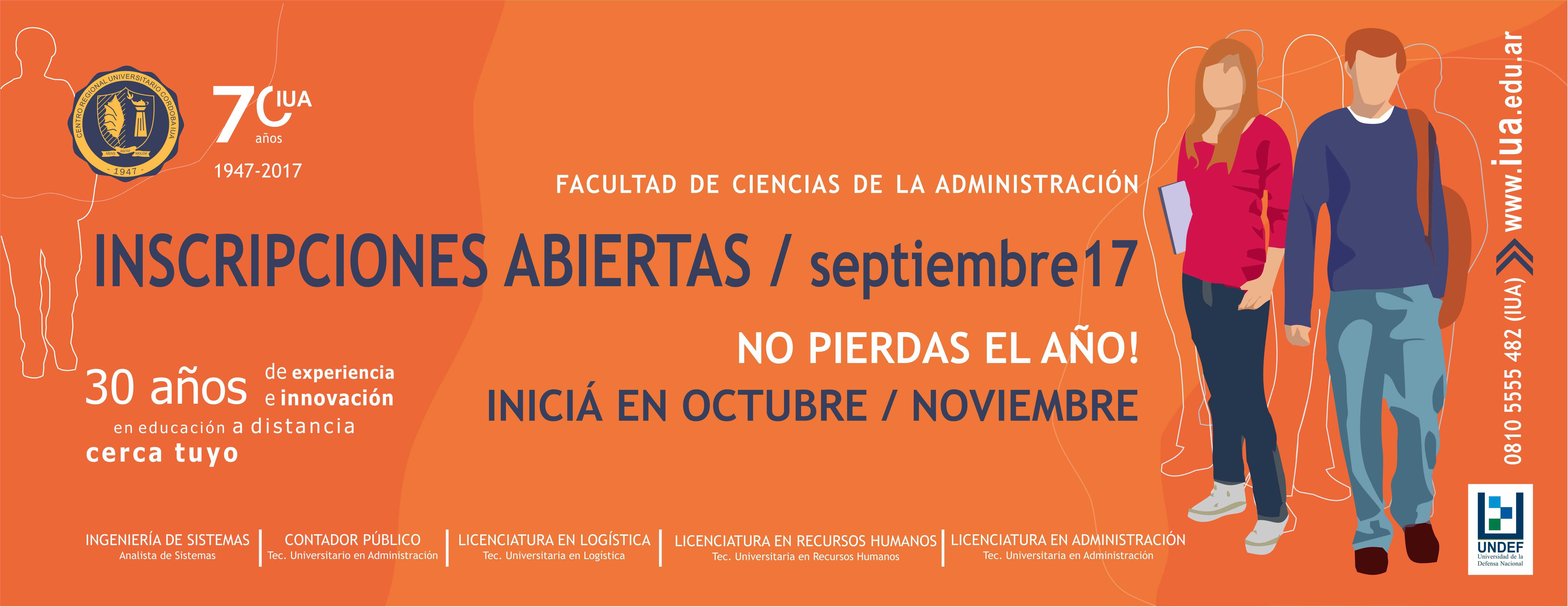 Inscripciones septiembre 2017 - Facultad de Ciencias de la Administración