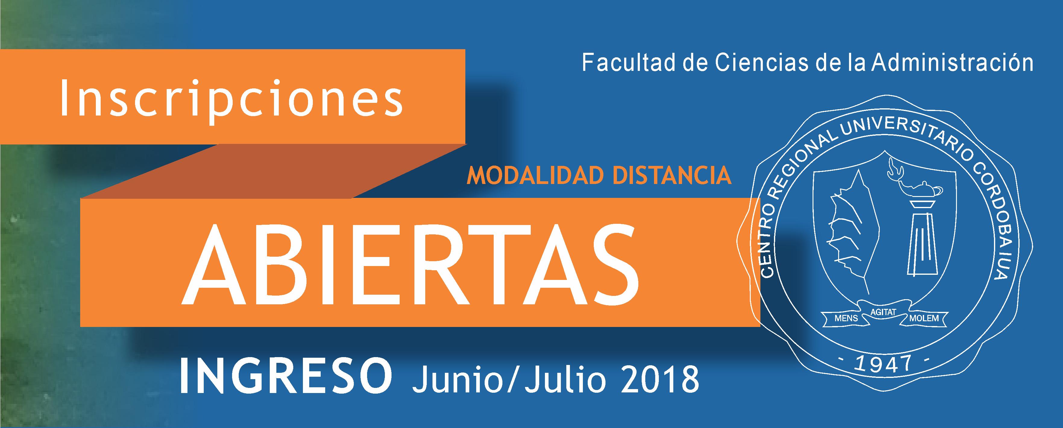 Ingreso 2018:  Inscripciones Abiertas en Junio/julio - Modalidad Distancia